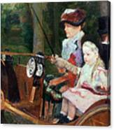 A Woman And Child In The Driving Seat Canvas Print