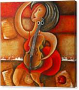 A Woman And Her Violin Canvas Print