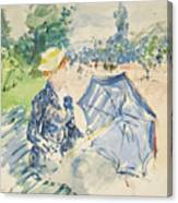 A Woman Seated At A Bench On The Avenue Du Bois Canvas Print