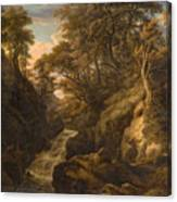 A Wooded Landscape With A Waterfall And A Fisherman Walking Along A Path Canvas Print
