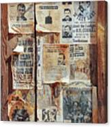 A Wooden Frame Full Of Wanted Posters Canvas Print