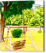 A Wooden Swing Under The Tree Canvas Print