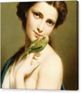 A Young Beauty With A Parakeet Canvas Print
