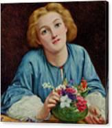 A Young Girl Arranging A Bouquet Canvas Print