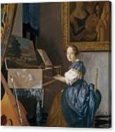 A Young Lady Seated At A Virginal Canvas Print