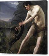 A Young Man Fighting A Goat Canvas Print