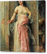 A Young Oriental Girl With A Perfume Burner Canvas Print