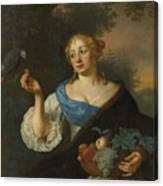 A Young Woman With A Parrot, Ary De Vois, 1660 - 1680 Canvas Print