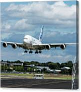 A380 Airbus Plane Landing Canvas Print