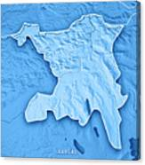 Aargau Canton Switzerland 3d Render Topographic Map Blue Border Canvas Print