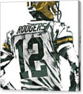 Aaron Rodgers Green Bay Packers Pixel Art 5 Canvas Print