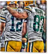 Aaron Rodgers Jordy Nelson Green Bay Packers Art Canvas Print