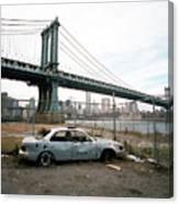 Abandoned Car And Manhattan Bridege Canvas Print