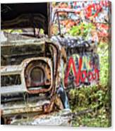 Abandoned Truck With Spray Paint Canvas Print