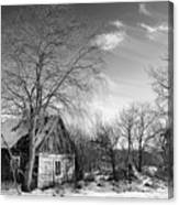 Abandoned Wooden Shack In Winter Canvas Print