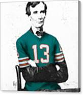 Abe Lincoln In A Dan Marino Miami Dolphins Jersey Canvas Print