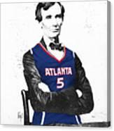 Abe Lincoln In A Josh Smith Atlanta Hawks Jersey Canvas Print