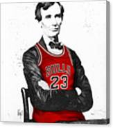 Abe Lincoln In A Michael Jordan Chicago Bulls Jersey Canvas Print