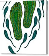 Aboriginal Footprints Green Transparent Background Canvas Print