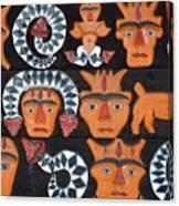 Aboriginal Painted Wood Carvings Canvas Print