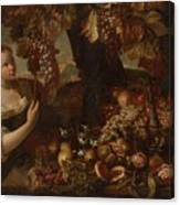 Abraham Brueghel After, Girl With Grapes And Still Life With Fruit. Canvas Print