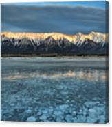 Abraham Lake Ice Bubble Sunset Canvas Print