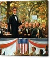 Abraham Lincoln And Stephen A Douglas Debating At Charleston Canvas Print