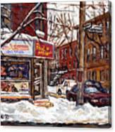 Rue De Pointe St Charles En Hiver Scenes De Rue De Montreal Peinture Originale A Vendre Paul Patates Canvas Print