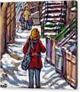 En Route Vers L'ecole Escaliers De Montreal Scenes De Ville Peintures A Vendre Canvas Print