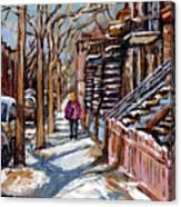Scenes De Ville De Montreal En Hiver Original Quebec Art For Sale Montreal Street Scene Canvas Print