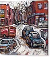 Ville Emard En Peinture Scenes De Ville De Montreal En Hiver Petit Format A Vendre Canvas Print