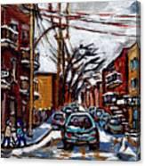 Plateau Mont Royal Scenes De Rue De Montreal En Hiver Rue Napoleon Petit Format A Vendre Canvas Print