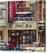 Rue Peel Montreal En Hiver Parie De Hockey De Rue Peel Pub Canvas Print