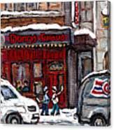 Dunn's Famous Deli Downtown Montreal Scenes De Rue Montreal Centre Ville En Hiver Joueur De Hockey Canvas Print