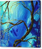 Abstract Art Asian Blossoms Original Landscape Painting Blue Veil By Madart Canvas Print