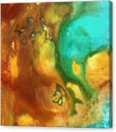 Abstract Art Colorful Turquoise Rust River Of Rust I By Madart  Canvas Print