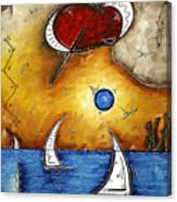 Abstract Art Contemporary Coastal Cityscape 3 Of 3 Capturing The Heart Of The City I By Madart Canvas Print