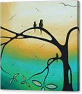 Abstract Art Landscape Bird Painting Family Perch By Madart Canvas Print