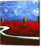 Abstract Art Original Landscape Painting Winding Road By Madart Canvas Print