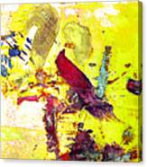 Abstract Bird On Yellow Canvas Print