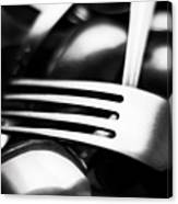 Abstract Black And White Photo Of Mixed Silver Forks Canvas Print