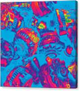 Abstract Blue-red Multi Colors Junk Canvas Print