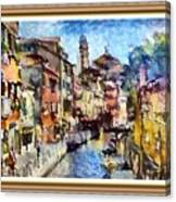 Abstract Canal Scene In Venice L A S With Decorative Ornate Printed Frame. Canvas Print