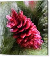 Abstract Christmas Card - Red Pine Cone Blast Canvas Print