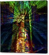 Abstract City In Green Canvas Print