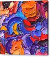 Abstract Colorful Flowers Impasto Palette Knife Modern Impressionist Oil Painting Ana Maria Edulescu Canvas Print