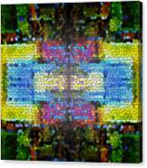 Abstract Digital Shapes Colourful Stained Glass Texture Canvas Print