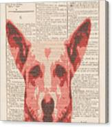 Abstract Dog On Dictionary Canvas Print