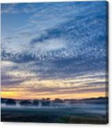 Abstract Early Morning Sunrise Over Farm Land Canvas Print