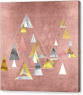 Abstract Geometric Triangles, Gold, Silver Rose Gold Canvas Print